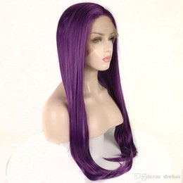 Front Layered Hair Australia - Synthetic Hair Wigs Purple Color High Temperature Fiber Natural Hairline Layered Straight Free Part Long Purple Synthetic Lace Front Wig