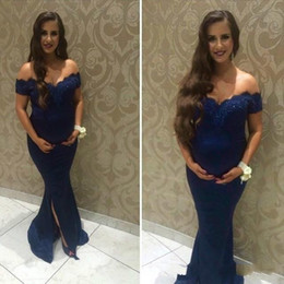 royal blue prom pregnant dresses NZ - Navy Blue Maternit Evening Dresses High Quality Mermaid Off The Shoulder Pregnant Women Wear Prom Party Dress Formal Event Gown A4