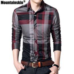 Men Cotton Business Shirts Australia - Mountainskin Striped 4xl 100% Cotton Business Men Shirts Long Sleeve Brand Casual Men's Clothing Slim Fit Sea144 Q190518
