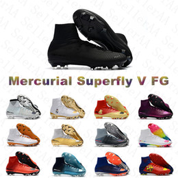 cr7 soccer shoes 2019 - New Arrived Mens FG Cleats Mercurial Superfly V Superfly 5 Outdoor High Ankle Soccer Shoes CR7 Mercurials Crampons De Fo