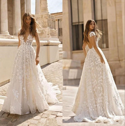Wholesale deep autumn color skirt resale online – Betra Lace Applique Boho Wedding Dresses Deep V Neck Backless Short Sleeves Bridal Gowns Sweep Train Bohemia Wedding Gowns