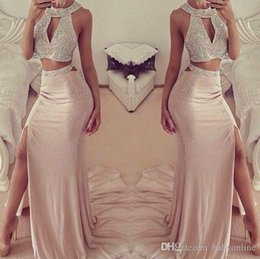 1a10108e4a 2019 Popular Two Pieces Prom Dresses Pink Halter Keyhole Neck Beaded  Thigh-High Slit Sexy Mermaid Evening Gowns BA2418
