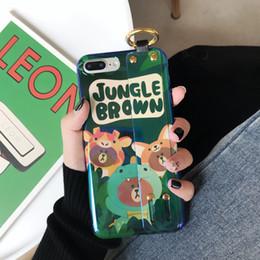 Iphone Brown Bear Australia - Mytoto Wristban bracket cartoon JUNGLE BROWN bear fashion soft Mobile Phone Case for iphone 6 6s 7 8 plus X XR XS MAX cover