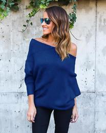 Wholesale loose baggy sweaters resale online - Batwing Sleeve Off Shoulder Sweater Women Long Knitted Loose Sweater Solid Baggy Sweaters Pullover Jumper Tops Autumn LJJV32