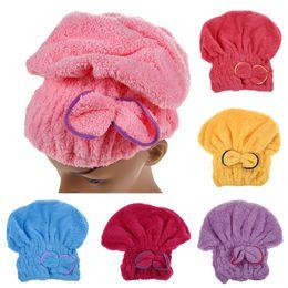 $enCountryForm.capitalKeyWord NZ - 6 Colors Microfiber Solid Quickly Dry Hair Hat Hair Turban Women Girls Ladies Cap Bathing Drying Towel Head Wrap Hat
