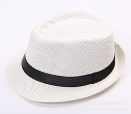 China Custom fashion linen panama fedora beach hat with black band summer top hat for men women supplier boys summer fedora straw hat suppliers
