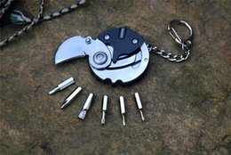 $enCountryForm.capitalKeyWord UK - Y-START Coin knife Keychain with six torix screwdrivers Mini portable multi folding knives claw neck knife hanging steel handle EDC tools