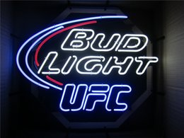 Best Bar Glasses Australia - 19X15 Inches Bud Light UFC Real Glass Neon Sign Beer Bar Pub Light Handmade Artwork BEST GIFT Fast Shipping