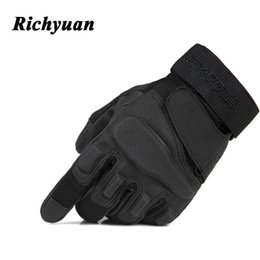 Safety Gloves Leather Australia - Richyuan Army Tactical Gloves Man Full Finger Gloves Safety Speed dry Anti-Slippery Leather Winter