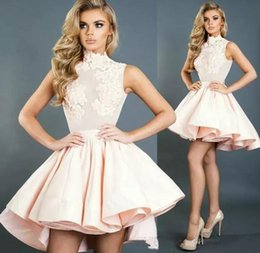 $enCountryForm.capitalKeyWord Australia - 2019 Light Pink High Neck A-Line Short Prom Dresses Appliques Ruched Cocktail Party Dress Custom Made Plus Size Homecoming Dresses