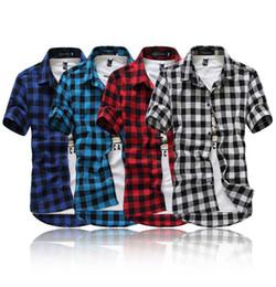 Blue Red Checkered Shirt Australia - Red And Black Plaid Shirt Men Shirts 2019 New Summer Fashion Chemise Mens Checkered Shirts Short Sleeve Shirt Men Blouse
