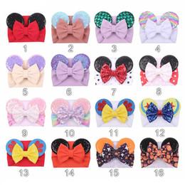 Cartoon ribbon hair bows online shopping - Cartoon sequined Mouse Ears Headband Big Hair Bow Headbands Headwrap Fabric Elastic Bowknot DIY Hair with Bows baby wide halloween hairbands
