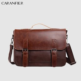 large brown leather men messenger bag 2019 - CARANFIER Mens Briefcase PU Leather Shoulder Crossbody Bag Large Capacity Computer Bags Fashion Messenger Bag Male Tote
