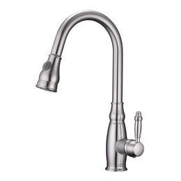 Kitchen Pull Handles NZ - High Arch Brass Single Handle Brushed Nickel Pull Down Sprayer Kitchen Sink Faucet, Pull Out Kitchen Faucets Without Deck Plate