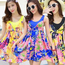 Discount one piece swim dresses - Women Printed Bikini Skirt Lady One Piece Plus Size Swimsuit Women Bath Suit Dress Lady Beach Wear Swim Dress LJJR429