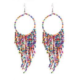 Orecchini di perline fatti a mano della Boemia dell'annata con nappe a più strati Perline lunghe Orecchini pendenti Gioielli femminili di moda in Offerta