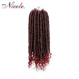$enCountryForm.capitalKeyWord UK - Nicole Hair 24 Strands Braiding Crochet Bulk Synthetic Goddess Faux Locs Curly Ends Crochet Braids Hair Locs Black  Brown 18 inch Hair