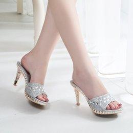 9d78cb5838e2 Rhinestone flat sandals foR women online shopping - Fashion High heeled  Slippers for Women Sexy Rhinestones