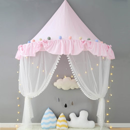 Girls Toddler Bedding Australia - Pink Canopy Princess Bed Kids Play Tent House Toddler Baby Crib Curtain Mosquito Net for Cot Girls Room Decoration Wall