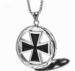 $enCountryForm.capitalKeyWord Australia - Punk Imperial Circle Cross Medal Necklace Men Titanium Steel Pendant Necklaces Mens Trendy Domineering Collar Trendy Gothic Jewelry Gifts
