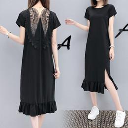 $enCountryForm.capitalKeyWord Australia - Women Dress Plus Size Wing Butterfly Backless Summer Short Sleeve O-neck Slit Split Peplum Ruffles Clothes Black T-shirt Dress J190430