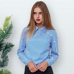 Botón Elegante blusa de rayas Mujer Invierno Azul Cuello vuelto Camisa de manga larga Vintage Mujer Tops y blusas Mujer en venta