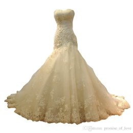 Wholesale dress up mermaid tails online – ideas Mermaid Wedding Dresses new elegant only beautiful breast slim lace dress sexy style fish tail drag wedding dress