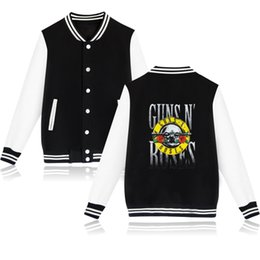 printed bomber jackets for women UK - GUNS N ROSES Spring Men Women Jacket Baseball Clothing Casual Mens Jackets Coat For Men Hoodies Harajuku Tracksuit Bomber Jacket