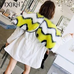 faux hairy jacket 2019 - TXJRH Stylish Removable Hairy Shaggy Faux Fur Lining Parker Coat Open Zipper Hooded Keep Warm Fur Jacket Outwear Tops 3