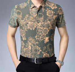 polyester short sleeve shirts Australia - Floral Print Turn Down Collar Mens Casual Shirts Short Sleeve Skinny Teenager Tops Fashion Male Clothing