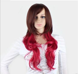 Mix Red Hair Australia - WIG FREE SHIPPING Hot heat resistant Party hair>>>> New Cosplay Fashion Red Brown mixed Long Curly Wavy Women Full Wigs