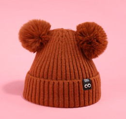 Twins arT online shopping - Lovely twin ball bear ears thickened wool hat for children in winter with fleece warm knit hat in solid color hats