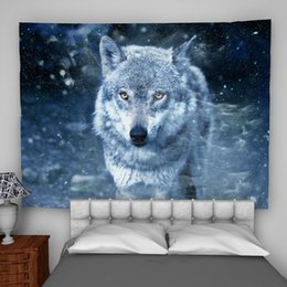 Psychedelic wall hangings online shopping - Wolf Winter Wall Hanging Tapestry Psychedelic Bedroom Home Decoration