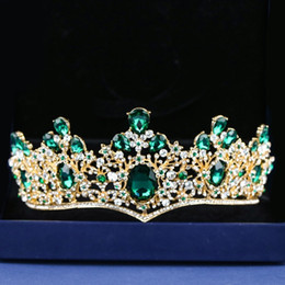 Big Bohemian Hair Australia - Vintage Green Big Crystal Bridal Crown Prom Head Decoration Gold Color Wedding Hair Jewelry Accessories Tiaras and Crowns