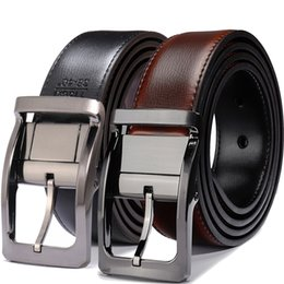 mens wide leather belt Canada - Men's Genuine Leather Dress Belt, Reversible Belt for Men Two In One 3.4cm wide mens belts big and tall T200113