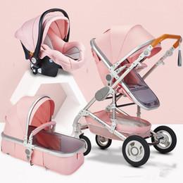 Toptan satış 1 moda kaliteli Sıcak Yüksek Peyzaj Anne Pembe Arabası Lüks Seyahat Pram Taşıma Sepeti Bebek Arabası koltuk ve arabası Bebek Arabası 3