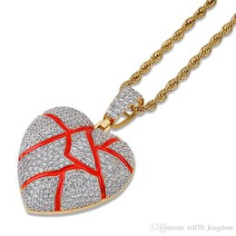 $enCountryForm.capitalKeyWord Australia - Broken Heart Pendant Rope Link Zicron Copper Hip Hop Jewelry Designer Jewelry Iced Out Chains Mens Necklace
