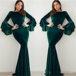 33f3a2f7f9b 2019 New Arrival Elegant Dark Green Mermaid Evening Dresses Long Sleeves  Velvet Formal Prom Dress Evening Wear Abendkleider robes de bal