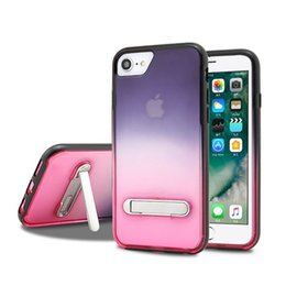 Crystal Clear Phone Cases NZ - For iPhone 6 7 8 Plus XS MAX XR Gradual Change Dual Layer Protection Clear Crystal Back Responsive Buttons Kickstand Phone Case