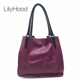 Discount plum tote bag - Genuine Leather Top-handle Bag Female Casual Genuine Leather Tote Bag Women Quality Casual Handbag for Daily&work Messen