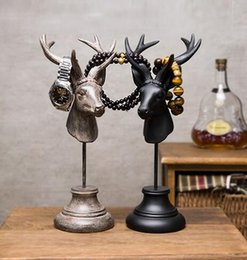 statue home decor NZ - American country Furnishing decoration villa bar Retro bookstore deer jewelry frame statue home decor deer figurine craft