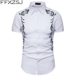 Court Shirts Australia - FFXZJS Brand new fashion men's royal court style embroidered lapel large size short-sleeved shirt in summer 2019 European size