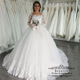 $enCountryForm.capitalKeyWord Australia - Lace Ball Gown Wedding Dresses Bridal Gowns Sheer Long Sleeve Appliques 2019 Arabic Plus Size Puffy Country Vestido De Novia Custom Made