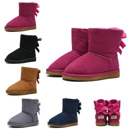 kids ankle boots girls Canada - 2020 New WGG Australian Classic Kids Boots Designer Snow Boots for Children Girl Boy Ankle Bailey Bow Fashion Winter Booties 26-35