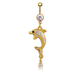 Chinese  Fashion Piercing Body Jewelry Korean Deisgn Trendy White Crystal Dolphin Navel Belly Button Ring Lovery Dancing Belly Rings manufacturers