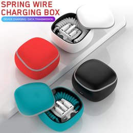 Transmission Box Australia - 2700mah 3 in 1 Portable Charging Spring Cable Data Transmission Adapter Charging Box Power Bank Charger For Android Apple Type-C