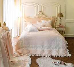Elegant Queen Size Bedding Sets Australia - 4Pcs Luxury Egypt Cotton Elegant Princess Ruffles Bedding Set Embroidery Duvet cover set Bed Sheet Pillowcases Queen King Size
