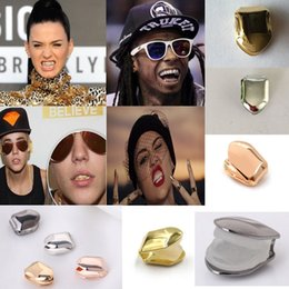 vampire metal 2019 - Braces Single Metal Tooth Grillz Gold silver Color Dental Grillz Top Bottom Hiphop Teeth Caps Body Jewelry for Women Men