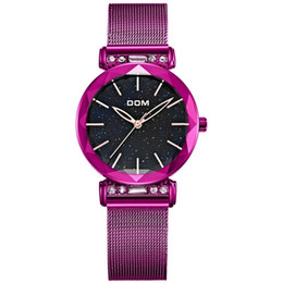 coating battery NZ - Hot Fashion Women Watches Dom Crystal Ladies Wristwatches Coated Glass Surface Gold Black Purle Color Quartz Watch Wholesale