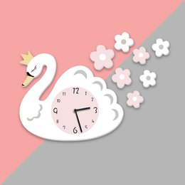 clocks for kids Canada - Swan Wall Clock PVC Cartoon Hanging Clock Interior Home Decor Silent Baby Room Wall Clock Wall Stickers For Kids Rooms Muraux Y200103